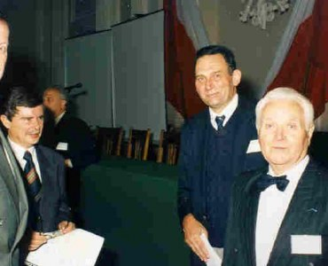 Rector prof. M.Dietrich, dean  prof. M. Knauff, prof.. J.B.Obrębski and Stephane Du Chateau at the moment before LSCE opening ceremony, 25.09.1995